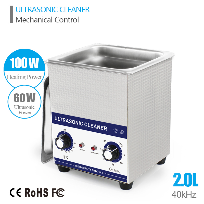 Ultrasonic Cleaner 2L 60W 40kHz Baskets Watches Jewelry Dental PCB Glass CD Washer Heated Ultrasound Cleaner Ultrasonic Bath(China (Mainland))