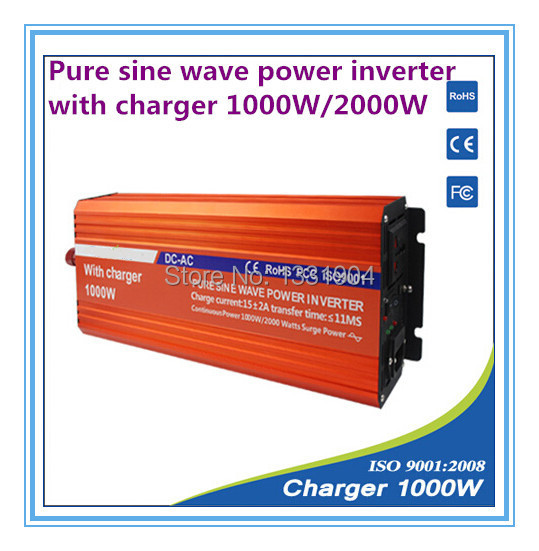12V to 220V 1000W Pure Sine Wave Power Inverter With Buildin Charger with Automatic Transfer for solar inverter, car inverter(China (Mainland))