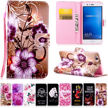 Buy PU Leather Case Huawei P8 P9 Lite Y5 II flower Pattern Cartoon Painted back cover flip stand wallet style case Trading Co.,Ltd) for $2.24 in AliExpress store
