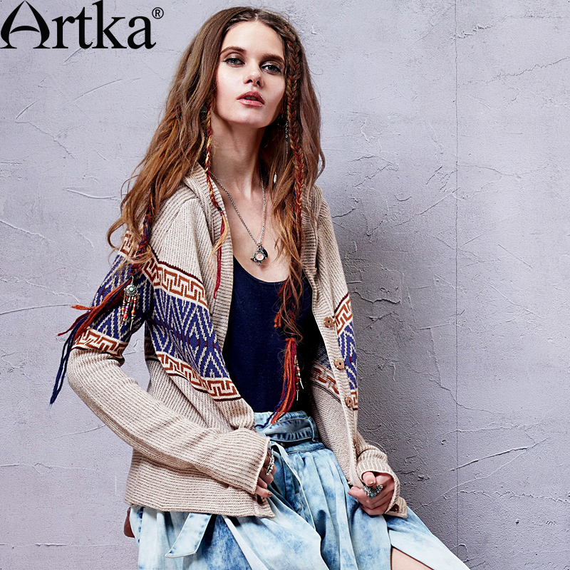 Artka Women's Patchwork Hooded Sweaters 2015 Autumn Spring European Style Fashion Lady Ethnic Knitwear WB14259C(China (Mainland))