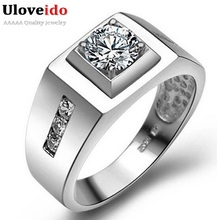 Uloveido Vintage Jewelry Anel de Prata Men's Big Ring Created Diamond Sterling Silver Bijouterie Male Wedding Accessories J473(China (Mainland))