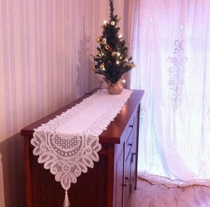 33*180CM Luxury White polyester table runner cover embroidery table cloths cloth for hotel wedding party banquet Home Textiles(China (Mainland))