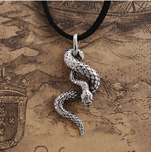 2015 fashion Gothic jewelry,The Never Ending Story punk vintage jewelry Titanium steel snake pendant necklace,2242
