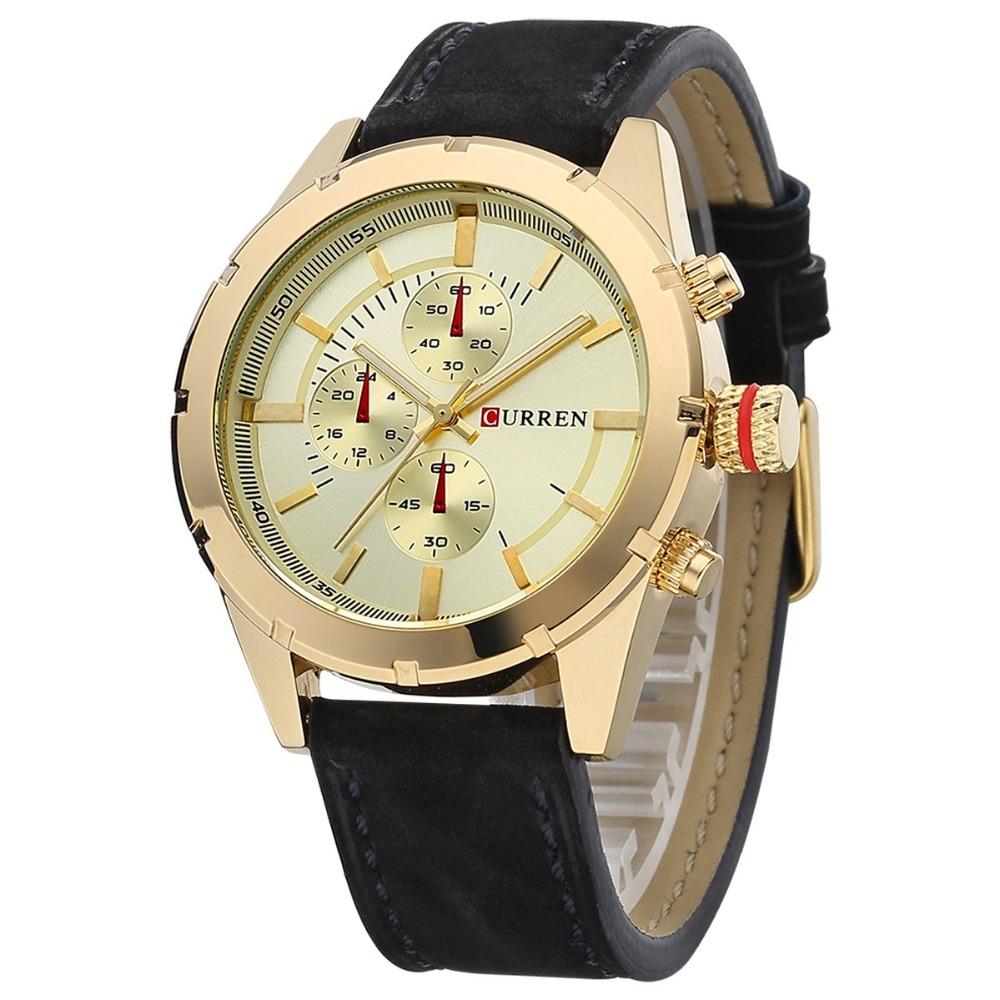 CURREN2016 men watch brand design fashion casual leather sport man wrist quartz male luxury watch 8154(China (Mainland))