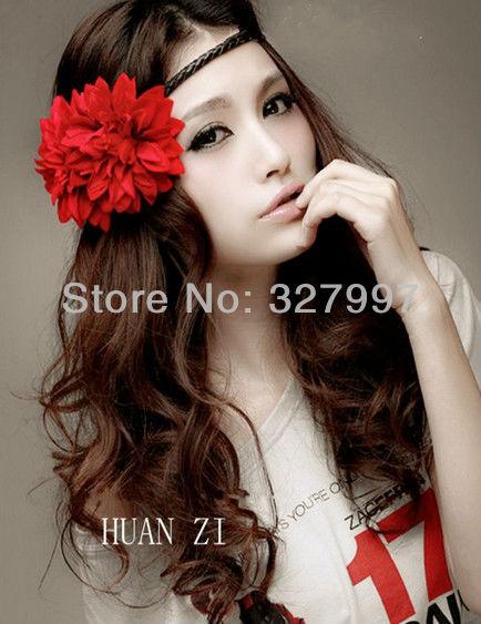 10 x flower girl hair bands silk single daisy flower headpiece famale headdress plating in free shipping(China (Mainland))