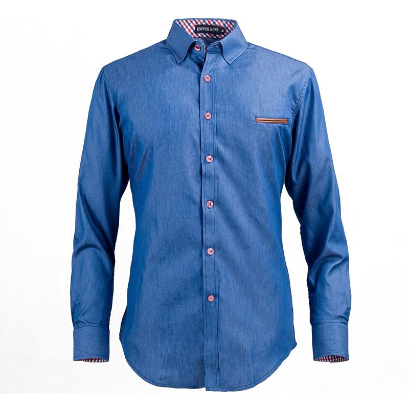 Men 39 s denim shirts dress casual long sleeve new brand 2016 for European mens dress shirts