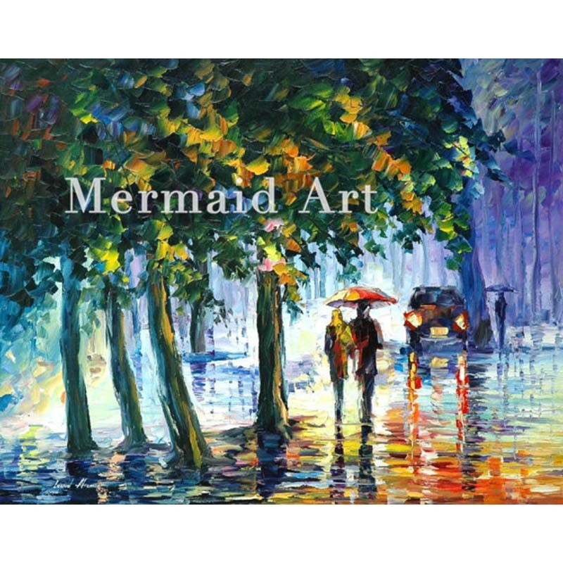 Buy Hand Painted Landscape Abstract Rainy Street Fall Palette Knife Modern Oil Painting Canvas Wall Living Room Artwork Fine Art cheap
