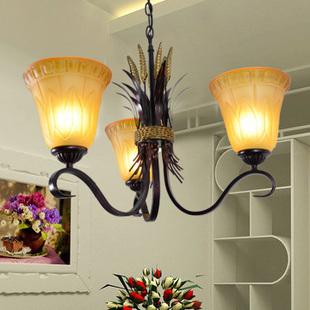 Fashion iron glass pendant light simple european lighting lamps ty8308-3 tea polyantha(China (Mainland))
