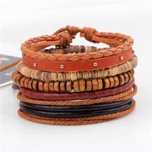 Pulseira de couro vintage moda mão-malha multi-camada de couro pena folha pulseira e moda masculino pulseira presente(China)
