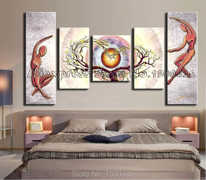 Modern Living Room Wall Decor Set : Hand painted abstract heart tree lovers landscape oil