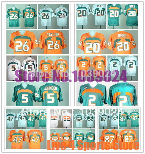 2014 New Style Miami Hurricanes Jersey Great Quality Orange Green White 5 Andre Johnson 20 Ed Reed 52 Ray Lewis Colleage Footbal(China (Mainland))