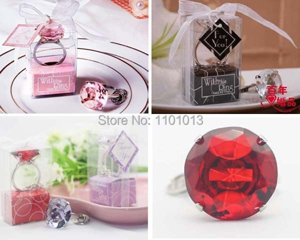 Brand New 100pcs/lot Free Shipping with This Ring Diamond Keychain White Key Chain Wedding Favors and Guest Gifts
