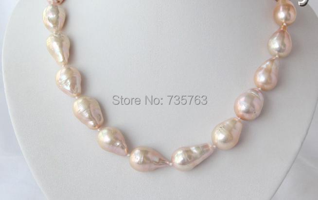 xiuli 0015197 big 25mm baroque pink keshi reborn freshwater cultured pearl necklace<br><br>Aliexpress