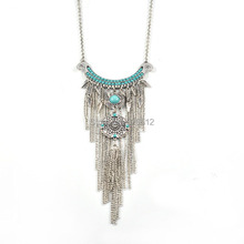 Bohemian vintage silver moon beads big flower pendant necklace long chain fringe necklace ethnic female tribal jewelry