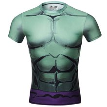Red Plume Men's Compression Armor Sports Fitness Shirt, Avengers Hulk T-shirt