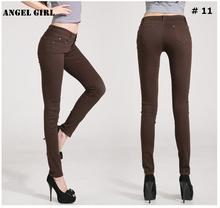 2016 New Fashion Women Long Pants Colourful Pencil Pants  Cotton elastic fabric pants Women's Slim Trousers  Free Shipping T6966(China (Mainland))