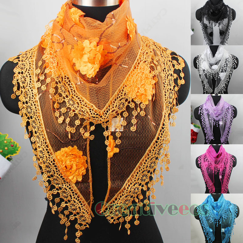 New Stylish Elegant Sexy Lace Crochet 3D Flower Triangle Chapel Veil Church Sequins Mantilla Scarf Shawl Wrap With Funky Tassel(China (Mainland))