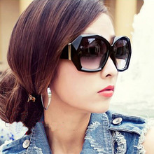 Women's Vintage Polygon Sunglasses Big Crystal Transparent Sun Glasses Gradient Lenses Eyewear 6 Colors