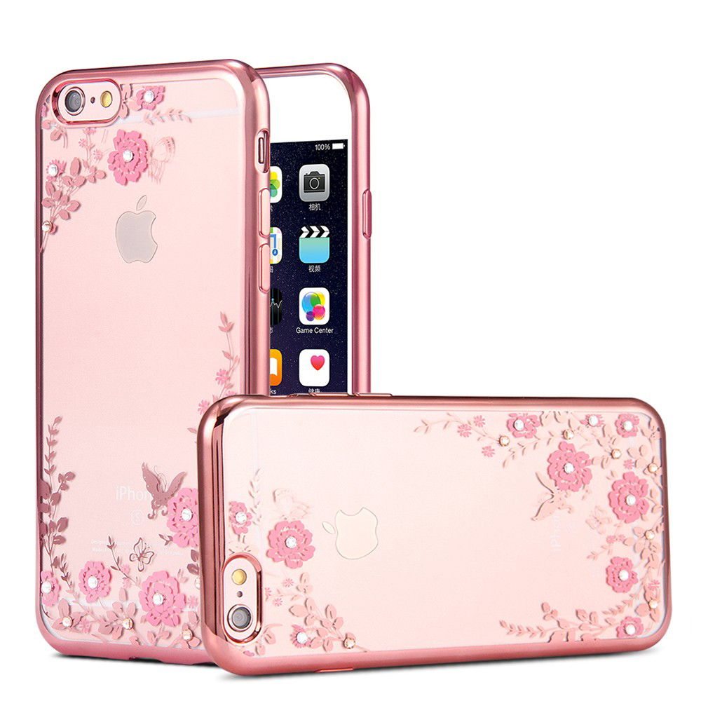 Slim Bling Diamond Rhinestone Flower Plating Soft TPU Case for apple iphone 6s 6 5s 5 se 6s plus Clear Phone Covers Case(China (Mainland))