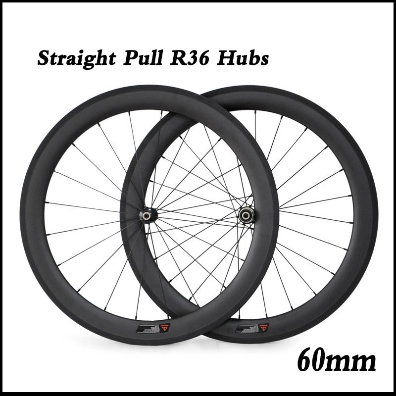 Straight Pull Road Bicycle Wheelset 700C 60mm Depth Tubular Clincher Carbon Wheels with Powerway R36 Hubs 424 Spokes(China (Mainland))