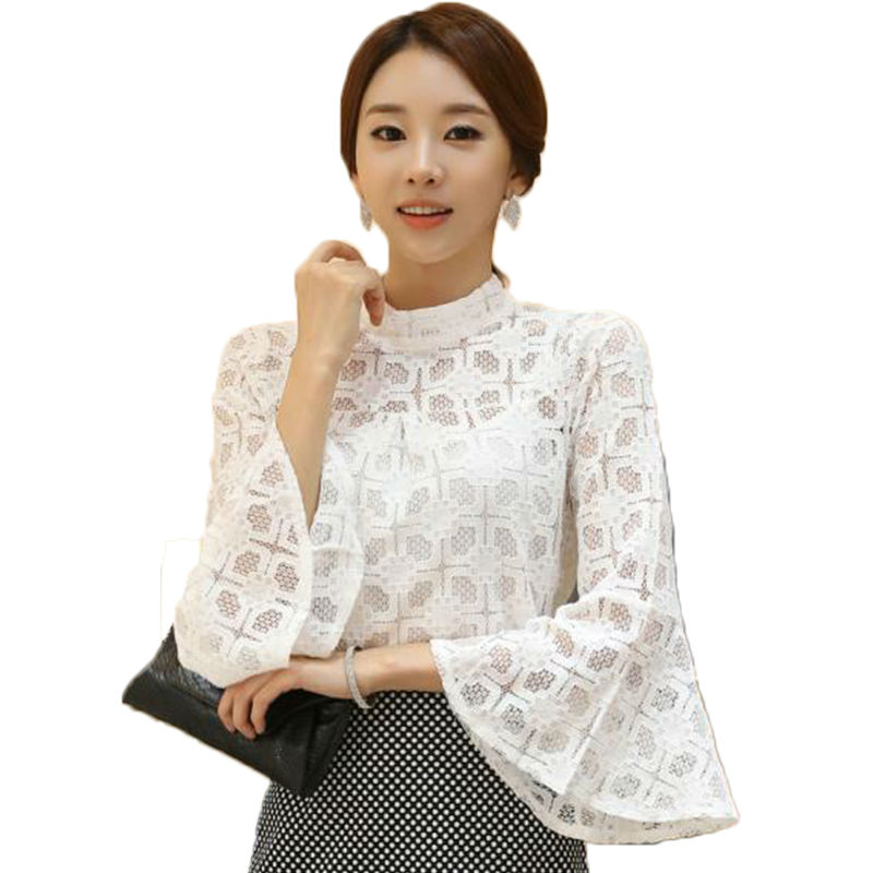 Women lace blouses crop top bell sleeve crochet lace shirt see through blusas plus size clothing WD802(China (Mainland))