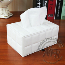 19x13x9cm Leather Tissue Box Sheepskin Style Black & White Color Home and Car Decoration(China (Mainland))