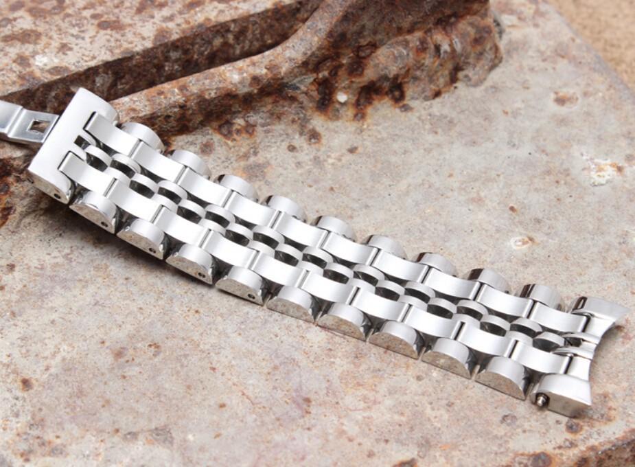 Серебряные часы ремешок твердые из нержавеющей стали часы браслет загнутым концом 20 мм