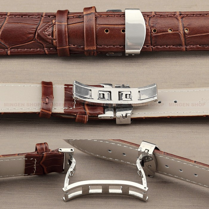 Men Durable 12/14/16/18/20/22/24mm Brown Genuine Leather Deployant Strap Steel Push-Button Hidden Clasp Watchband - Joyce's Time House store