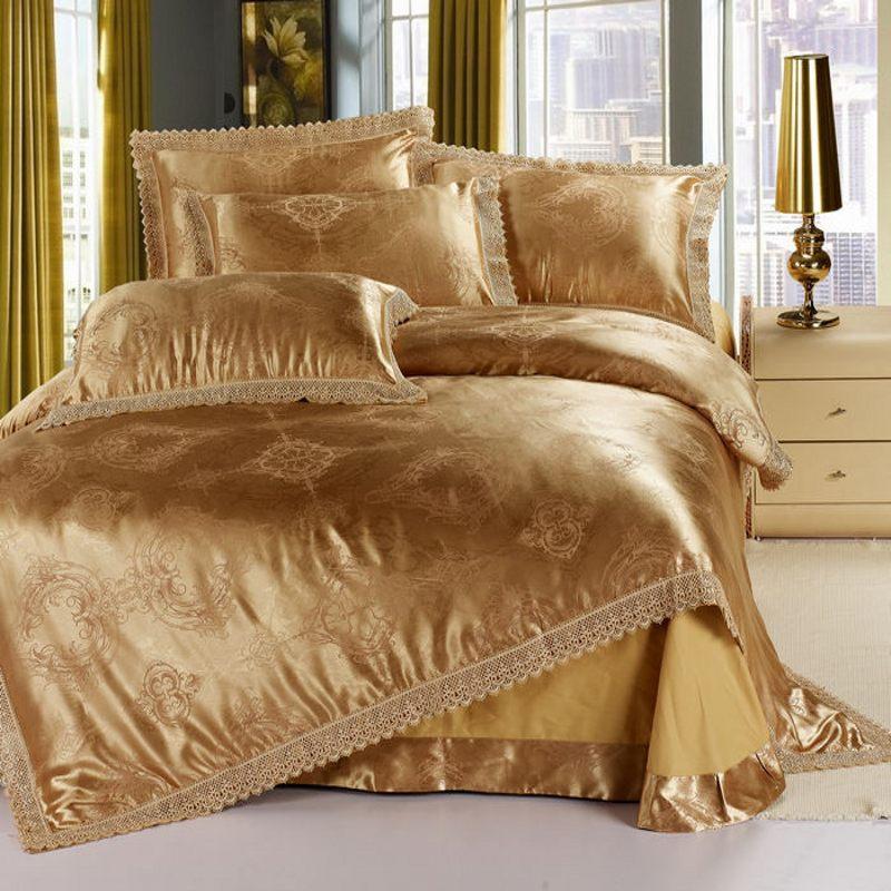 Or Jacquard de soie literie ensemble de literie reine roi 4 pcs dentelle couette / housse de couette linge de lit en Satin textile à la maison(China (Mainland))