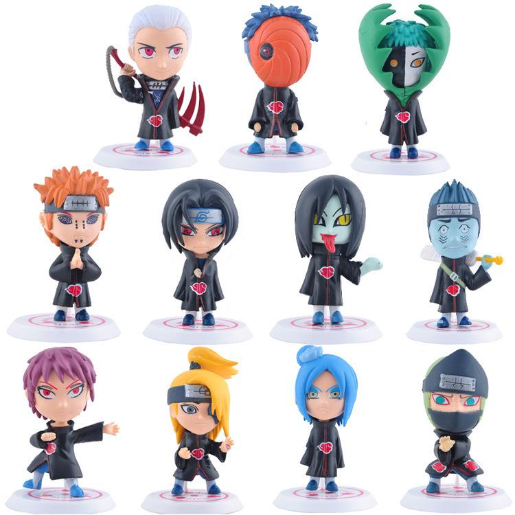 11Pcs/Set 8cm Naruto Akatsuki Uchiha Itachi Madara Sasuke Hidan Orochimaru Tobi Pein Deidara Dolls Action Figures Anime Toys(China (Mainland))