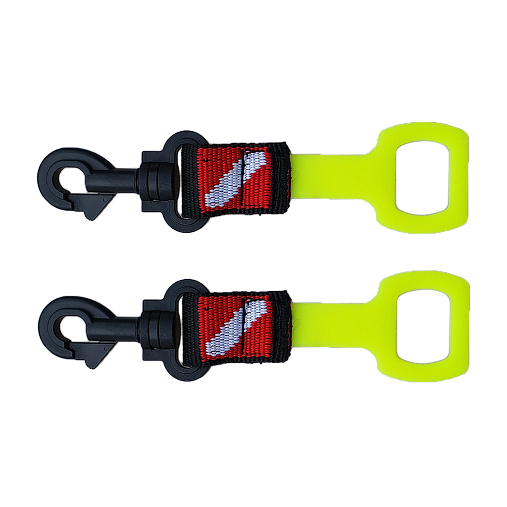 2 Pcs Silicone Scuba Diving Regulator Octopus Holder with 1-inch Webbing and Clip Dive Flag Pattern Diving Mouthpiece Rack