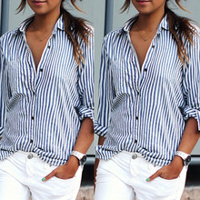 2016 vintage women navy blue stripe Blouses Casual summer spring lady shirts Blouse new arrive(China (Mainland))