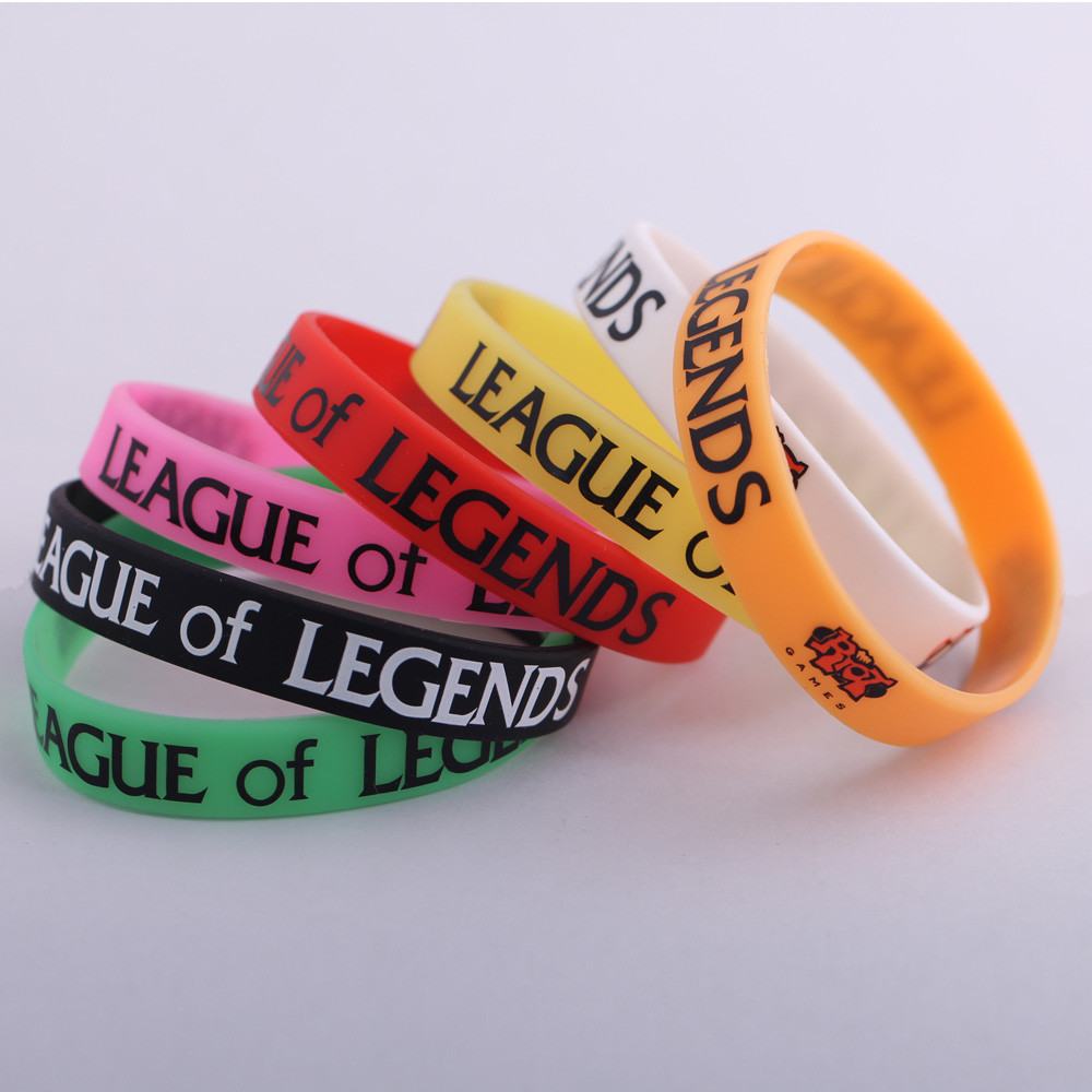 Wholesale 7pcs/lot Rainbow colors Silicone wristband bracelet LOL League Legend DOTA2 Game Silicon Bangles Friends Gift ZBLL7C(China (Mainland))