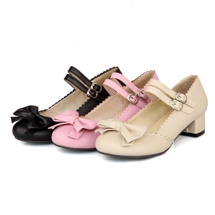 Fashion Sweet Ladies Lolita Shoes Women Thick Heel Round Toe Ankle Strap Low Heeled Woman Pumps Spring Autumn Black Nurse Shoes