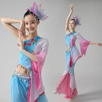 woman Jiangnan traditional sequined fan/yangko/umbrella dance clothing Embroidery Chinese folk dance(China (Mainland))