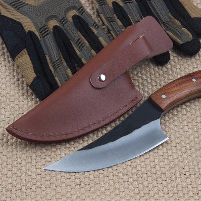 Buy Super sharp High carbon steel Hand made fixed hunting knife 58HRC wood handle survival camping tactical rescue tool cheap