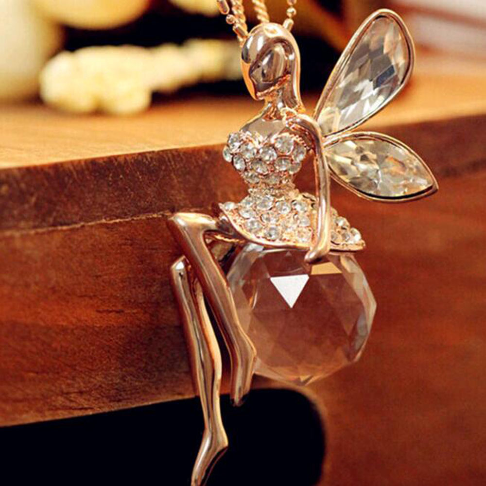 Tomtosh 2017 New Fashion Gold Crystal Angel Wings Long Chain Necklace/Ahiny Butterfly Fairy Necklace Jewelry Women(China (Mainland))