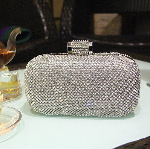 2016 Women Silver Clutch Chains Handbags Gold Evening Bags Full Crystal Diamond Wedding Party Purse Shoulder Bag XP151 - YIWU Global Trade store
