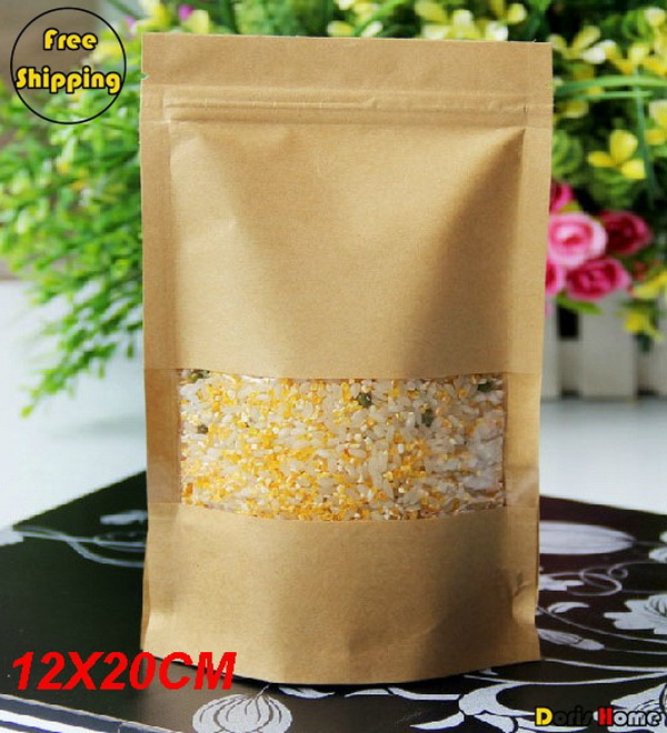 Free Shipping Kraft Paper Self-Stand Self-Sealing Food Packaging Bags With Visual Rectangle Windows,12*20+4cm,100pcs/lot(China (Mainland))