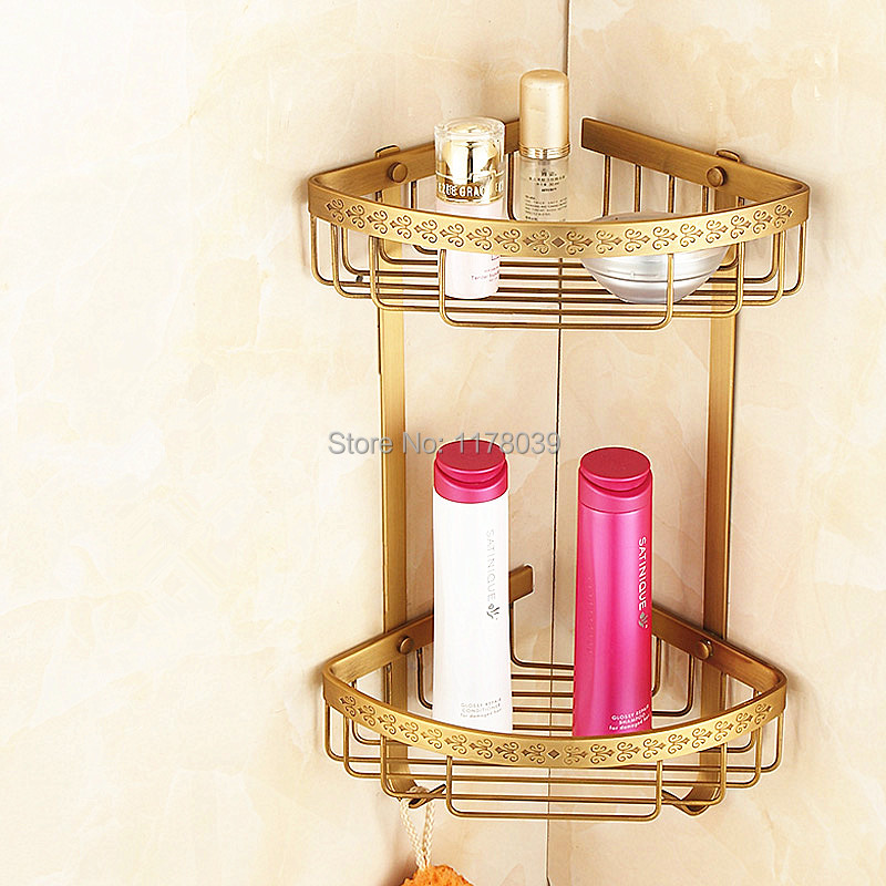 European style brass retro bathroom corner shelf All copper antique  triangle basket racks Bathroom. Popular Tiered Shelves Buy Cheap Tiered Shelves lots from China