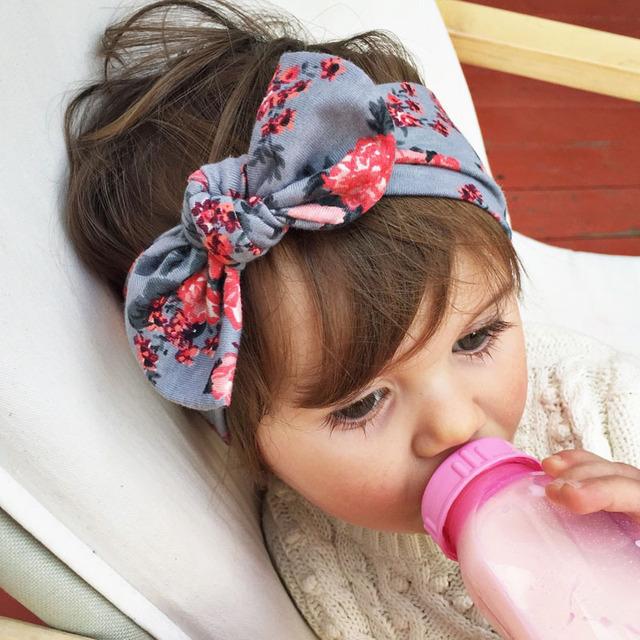 Девочка повязки детские цветы тюрбан повязка на голову милый кролик уха повязка на ...