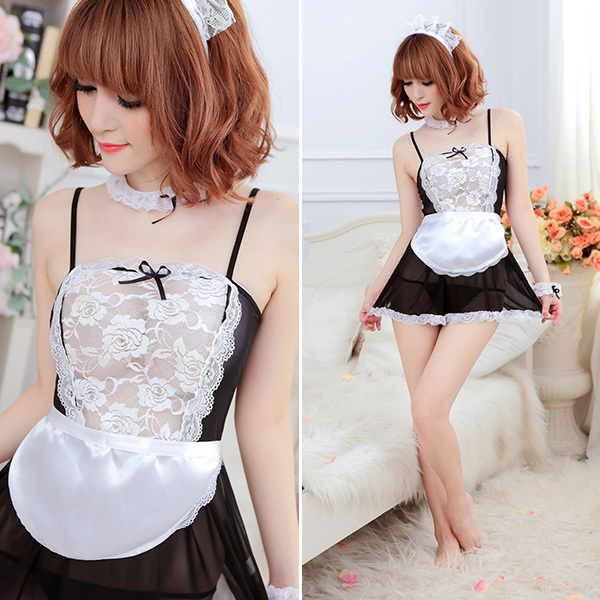 NEW FreeShipping Sexy Lingerie Black White French Apron Maid Servant Lolita Costume Dress Uniform(China (Mainland))