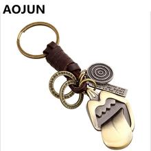 NEW Antique gold Tongue Key Chains Cute Keyrings Men Women Genuine Leather Key Holder Chain Purse Bag Buckle HandBag Pendant(China (Mainland))