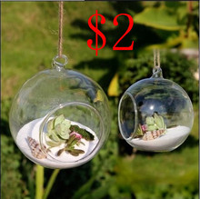 8pieceS DIA 8CM hanging round glass air plant  terrariums bubble crystal balls flower globe vase for wedding ceiling decorations(China (Mainland))