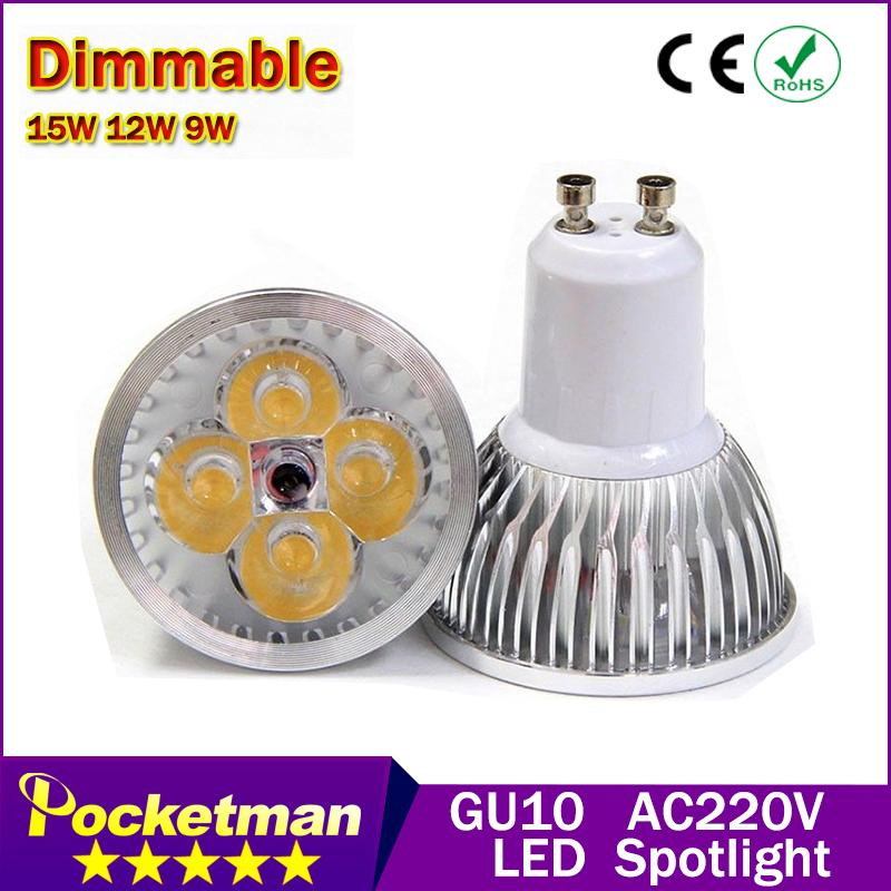 High power CREE Led Lamp Dimmable GU10 9W 12w 15w 85-265V Led spot Light Spotlight led bulb downlight lighting zk90(China (Mainland))