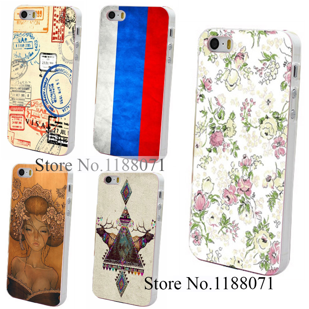 Hard Clear Skin Back Case Cover for iPhone 4 4s 4g 5 5s 5g Retro Palace Pattern Vintage Aztec Style(China (Mainland))