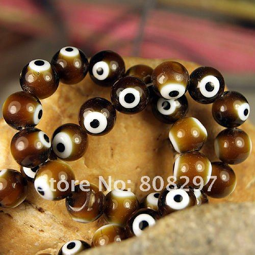 DIY Spacer Beads 10mm Shamballa Brown Crystal Lampwork Evil Eye Glass Loose Beads For Chains Jewelry Finding 500pcs/lot