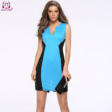 2016 New Women Vintage Elegant V-neck Dress Tartan Peplum Ruched Party Sleeveless Bodycon Sheath Womens Dress QZ0023