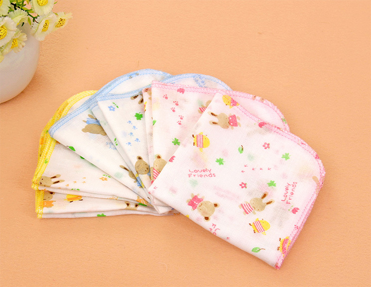 10PCS 100 Cotton Gauze Newborn Baby Infant Cartoon Face Hand Bathing Towel Bibs 31 31cm font
