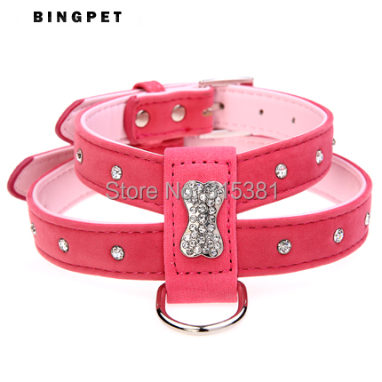 Bling Bone Velvet & Leather Pet Puppy Small Dog Collar Harness Chihuahua Teacup Care XS Small Medium Large for Girls & Boys(China (Mainland))